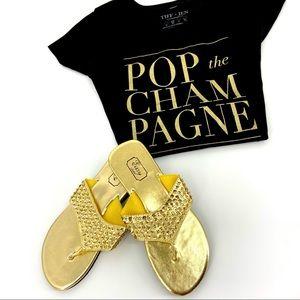 JUST IN Gold Sequins Wedge Flip Flop Sandals